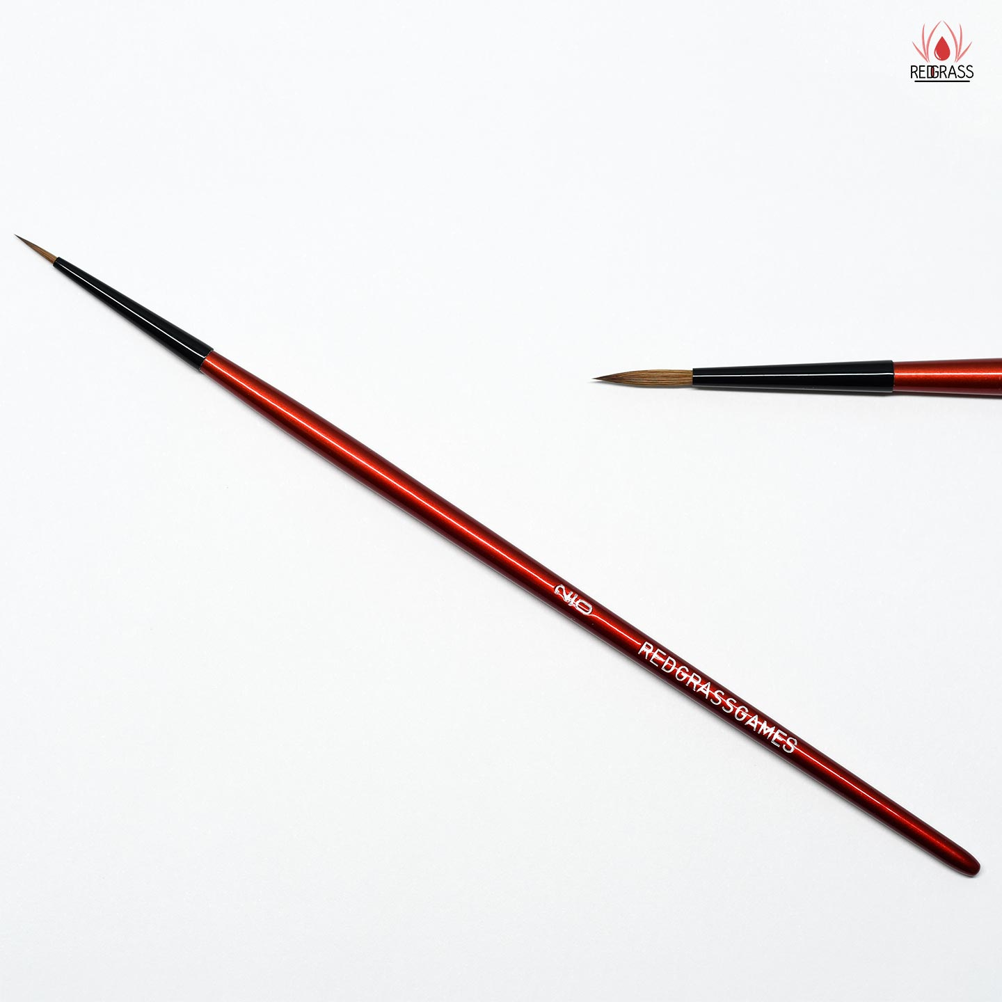 RedgrassGames Main Brush Size #2 with the finest tips and perfect hobby paint carrying capacity