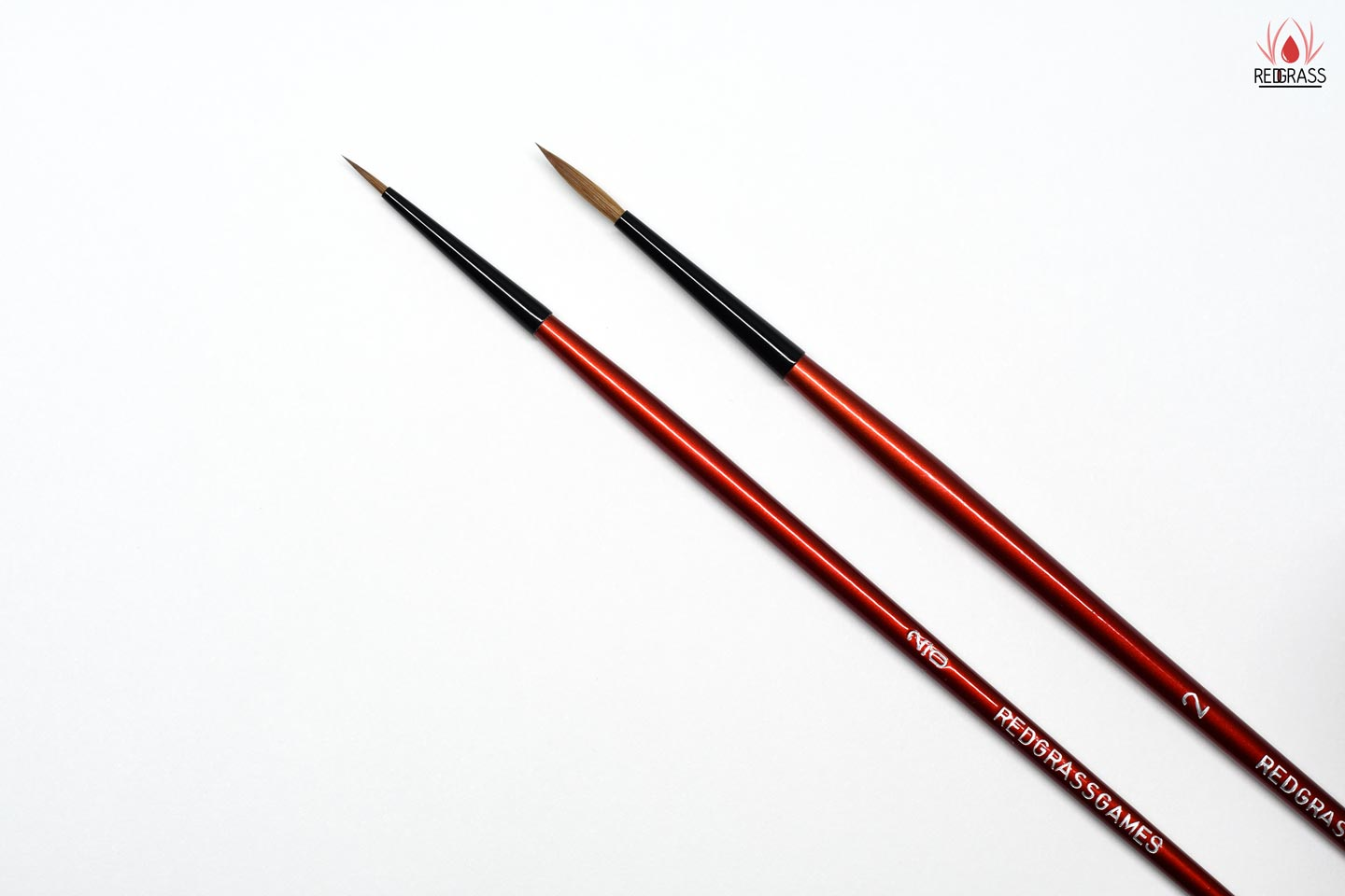 Main brush and high detail brush from Redgrassgames for miniature painting